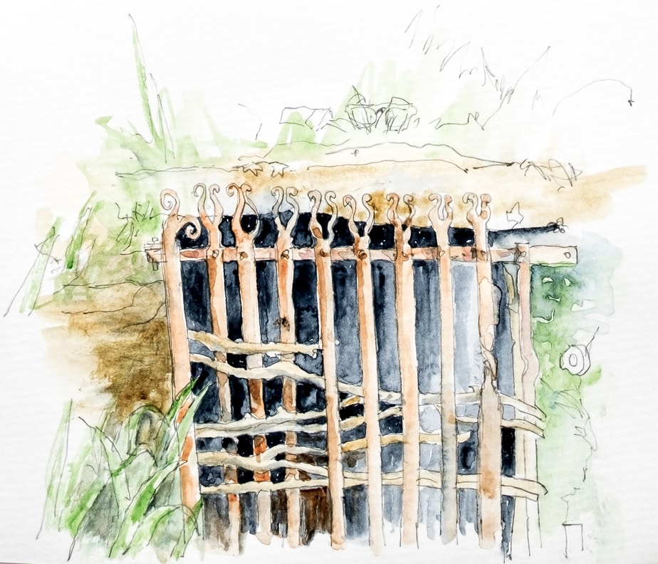 Well with iron gate, Watercolour sketch