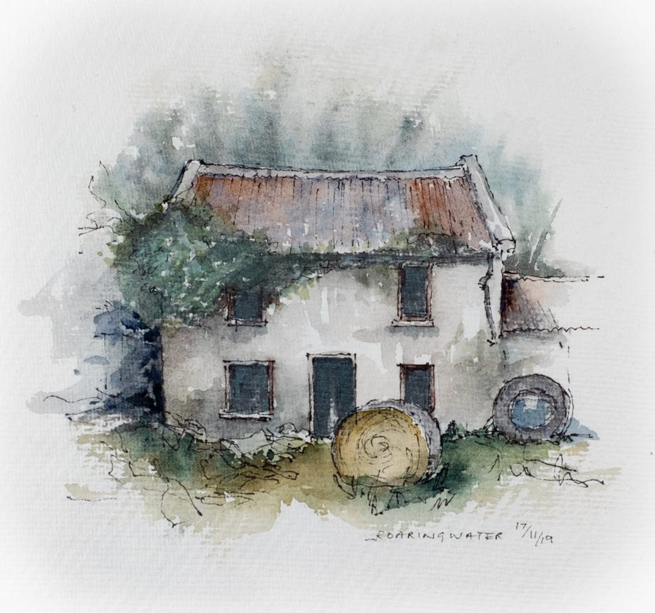 DErelict house watercolour sketch