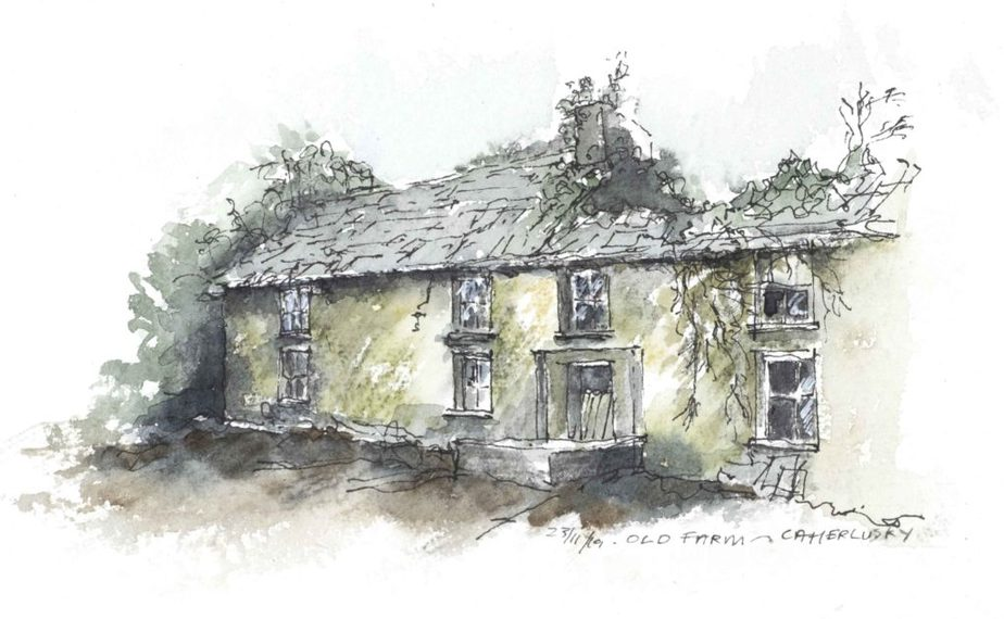 Old farm building, watercolour sketch