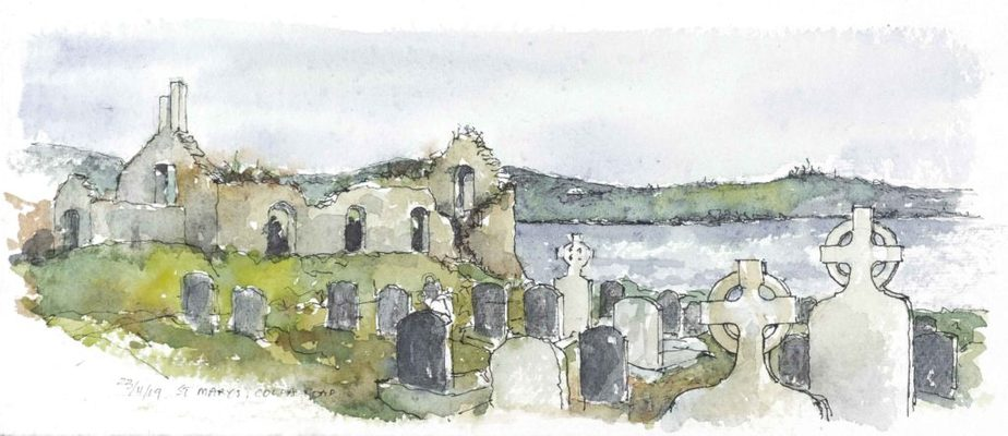 St Mary's Old Church and burial ground Schull. Watercolour sketch