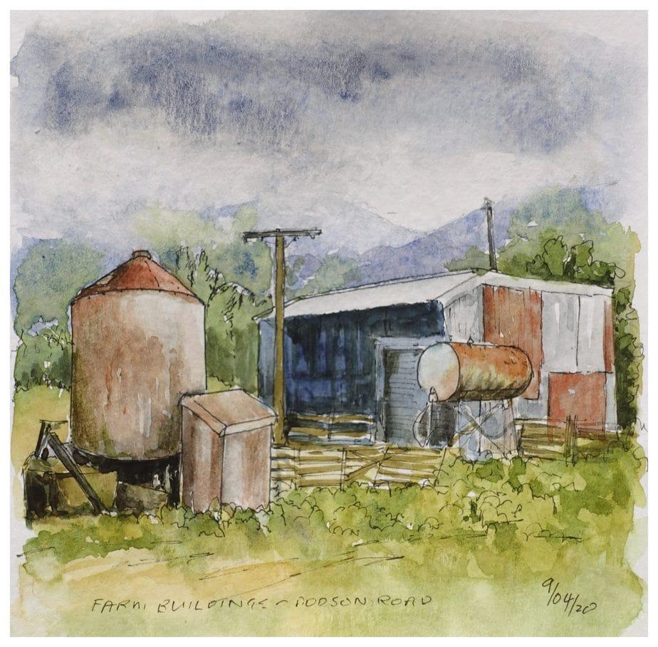 Farm buildings watercolour sketch